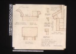 F.S. details of exterior mouldings -- mould on front and south porches\, mould in front porch\, cap rail in front porch\, verge mould for gables\, verge mould front porch (and ceiling mould south porch)\, moulding on flower boxes\, beam under northwest gable : Sheet no. 18.