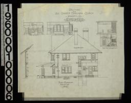 East elevation with section through wall; elevations of walls in study - looking north\, study - looking east; section through main hall - looking north :No. 6.
