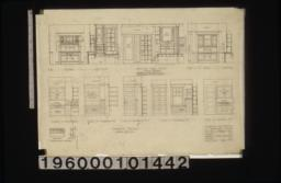 Interior details -- buffet; section thru entry showing dresser (dresser in apartment no. 8 is narrower but of similar design); desk; cases in kitchens; case in bathroom #2; case in bathroom #3; case in bathroom #5; case in kitchen #6; pigeon-holes for mail :Sheet no. 8.