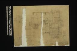 First floor plan; vertical section thro' so. beam of sun room; details in sections\, elevations and plan
