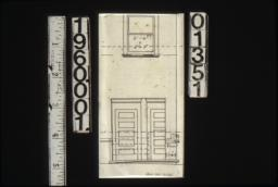 Unidentified elevation with plan showing window and doors.