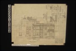 East elevation; elevations of stairs looking west and looking south\, section G-G through stairs (2nd floor plan) :Sheet no. 5.
