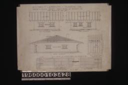 East elevation\, west elevation\, north elevation\, detail of sliding doors\, full size detail of sliding doors.