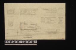 Floor plan; exterior elevations -- east elevation\, north elevation\, south elevation; interior elevations -- north side of room\, elev. beam\, south side of room\, west end :Sheet no. 1.
