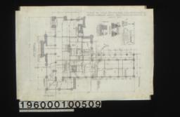 """Foundation plan; detail drawings of -- girder posts and footings\, reception rm. chimney footing\, section """"A-B""""\, library chimney footing (some footing for dining room chimney) :Sheet no.1."""