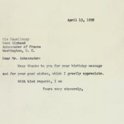 Letter: 1958 April 15