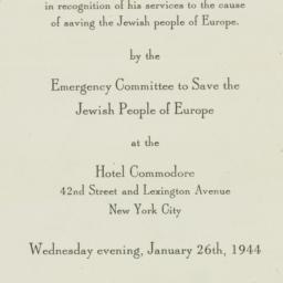 Invitation: 1944 January 26