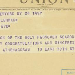 Telegram: 1948 April 24