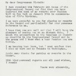 Letter: 1958 February 7