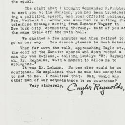 Letter: 1930 November 14