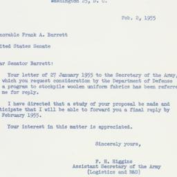 Letter: 1955 February 2