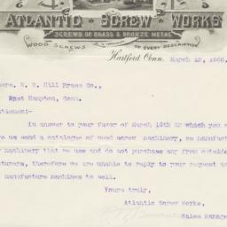 Atlantic Screw Works. Letter