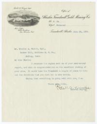 Alaska Treadwell Gold Mining Co.. Letter - Recto