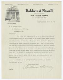 Baldwin & Howell. Letter - Recto