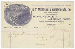A.Y. McDonald & Morrison Mfg. Co.. Bill - Recto