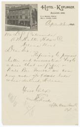 Hotel Keplinger. Letter - Recto