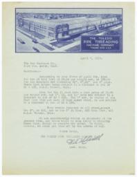Toledo Pipe Threading Company. Letter - Recto