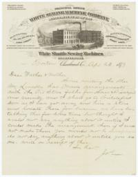 White Sewing Machine Company. Letter - Recto