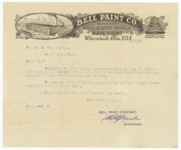 Bell Paint Co.. Letter - Recto