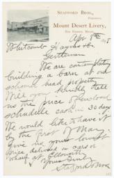 Mount Desert Livery. Letter - Recto