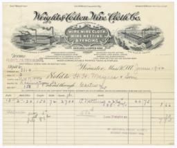 Wright & Colton Wire Cloth Co.. Bill - Recto