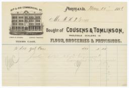 Cousens & Tomlinson. Bill - Recto