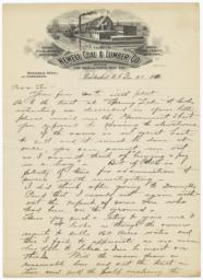 Newell Coal & Lumber Company. Letter - Recto