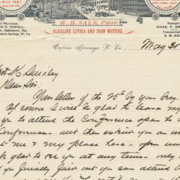 Capon Spring & Baths. Letter