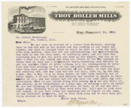 Troy Roller Mills. Letter - Recto