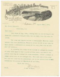 Anderson Water, Light & Power Company. Letter - Recto