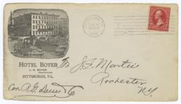 Hotel Boyer. Envelope - Recto