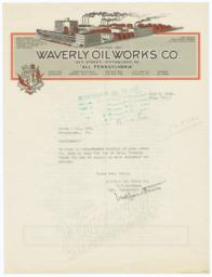 Waverly Oil Works Co.. Letter - Recto