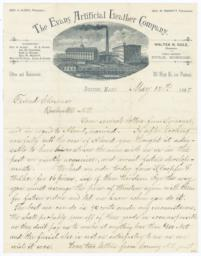 Evans Artificial Leather Company. Letter - Recto