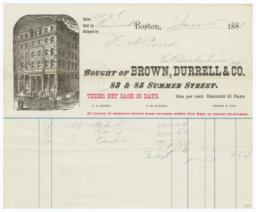 Brown, Durrell & Co.. Bill - Recto