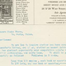 Boston Music Company. Letter