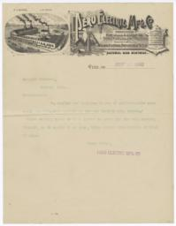 Peru Electric Mfg. Co.. Letter - Recto