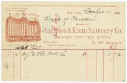 Anderson & Krum Stationery Co.. Bill - Recto
