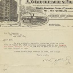 A. Wimpfheimer & Bro.. Letter