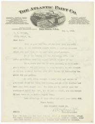 Atlantic Paint Co.. Letter - Recto
