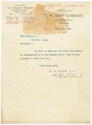 C. W. Hunt Company. Letter - Recto