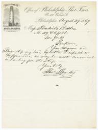 Office of Philadelphia Shot Tower. Letter - Recto