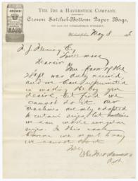 Ide & Haverstick Company. Letter - Recto