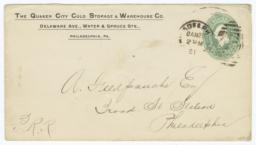 Quaker City Cold Storage & Warehouse Co.. Envelope - Verso