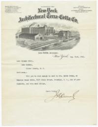 New York Architectural Terra Cotta Co.. Letter - Recto