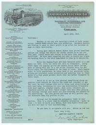 American Electric Co.. Letter - Recto