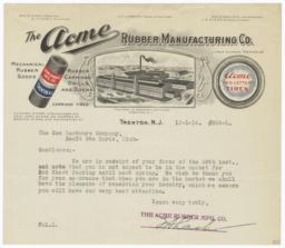 Acme Rubber Manufacturing Co.. Letter - Recto