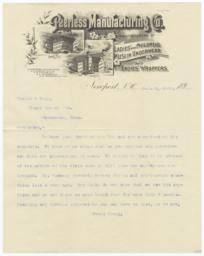 Peerless Manufacturing Co.. Letter - Recto