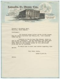 Louis F. Dow Company Letter to Farmers & Merchants Bank