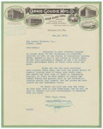Carnie-Goudie Mfg. Co.. Letter - Recto