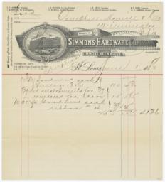 Simmons Hardware Company. Bill - Recto